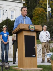 Lt Gov. Phil Scott speaks Friday at the Vermont Rally
