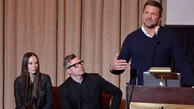 "From left, directors Dorota Swies and John C. Lyons and Girard native and actor Marc Blucas answer questions at a news conference in 2018 when ""Unearth""was first announced."