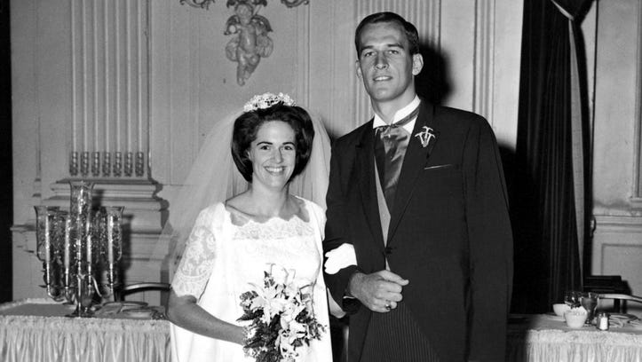 Charlotte and John Fedders on their wedding day in
