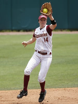 FSU's Ellie Cooper catches a line drive and tags second base for the double play against Dartmouth during their NCAA Regional game at Joanne Graf Softball Field on Friday.