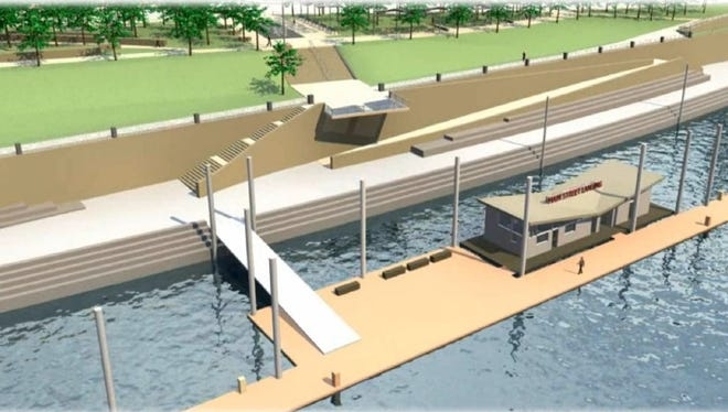 Cincinnati will build a 29-boat marina near Great American Ball Park. This is an early concept drawing of the boat dock.