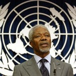 United Nations Secretary General Kofi Annan addresses a news conference at the United Nations on Tuesday, March 29, 2005. A report faulted Annan for failing to take aggressive action to deal with possible conflict of interest in the awarding of a U.N. oil-for-food contract to Cotecna Inspection S.A., which employed his son, Kojo, in Africa, the officials said.