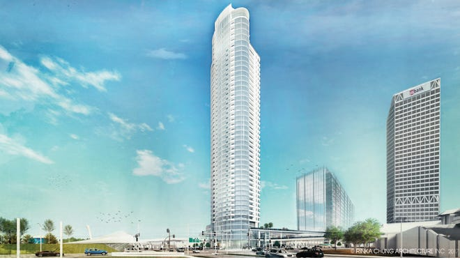 The revised detailed design for the 44-story Couture apartment tower was endorsed Monday by the Plan Commission.