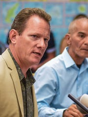 Lt. Gov. Ray Tenorio, left, and Guam Homeland Security Advisor George Charfauros address members of the local, national and international news agencies, on the latest status of the missile threat by North Korea during a briefing at Adelup on Tuesday, Aug. 15, 2017.