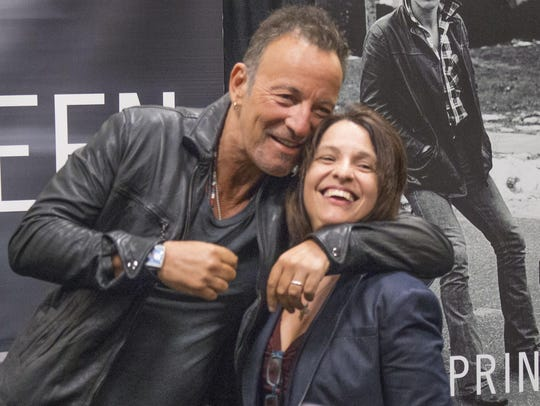 Bruce Springsteen greets fans at the Barnes and Noble