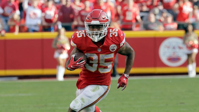 Kansas City Chiefs running back Charcandrick West (35) carries the ball during the second half against the Jacksonville Jaguars in Kansas City, Mo., Sunday, Nov. 6, 2016.