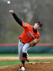 Central York pitcher Brandon Walters delivers a pitch against Eastern York during a YAIAA baseball game this season. The Panthers beat the Golden Knights, 8-0.