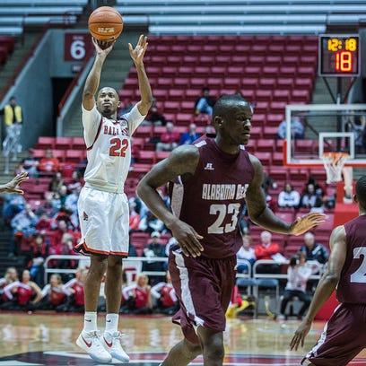 Ball State's Jeremie Tyler shoots past Alabama A&M's