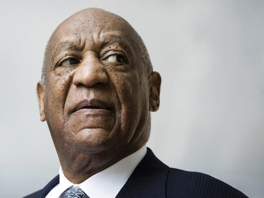 In this Aug. 22, 2017 file photo, Bill Cosby departs