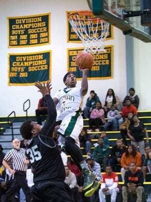 Indian River's Kei Juan Major drives to the basket against Sussex Tech Tuesday night in Dagsboro.
