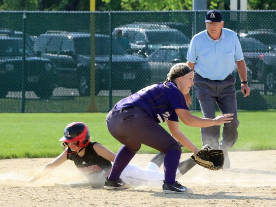 Ally Miklesh steals second base in the first inning