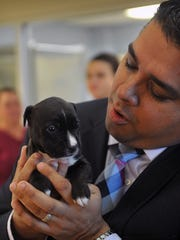 In this file photo, Wichita Falls Mayor Stephen Santellana holds a puppy three years ago while touring 18-kennel adoption wing added to the city's Animal Services Center