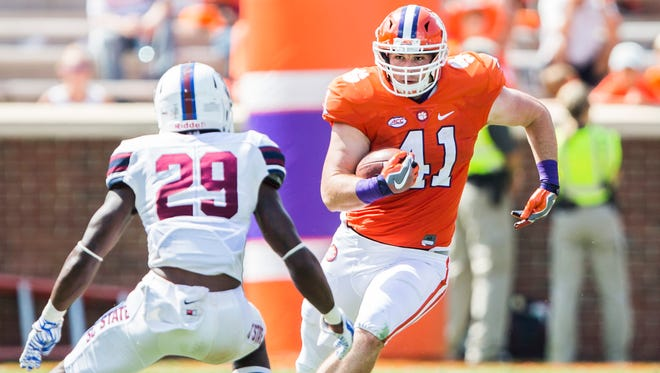 Clemson tight end Grant Radakovich's first reception with the Tigers went for eight yards. His lone touchdown at any level came last season at Mercer.