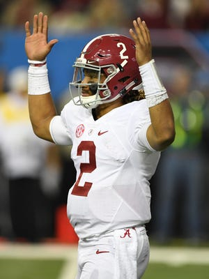 Alabama Crimson Tide quarterback Jalen Hurts (2) reacts during the fourth quarter of the SEC Championship college football game against the Florida Gators at Georgia Dome.