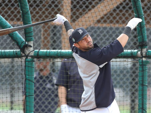 Tigers infielder Nick Castellanos takes batting practice