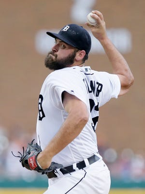 Tigers pitcher Michael Fulmer throws during the first inning Friday at Comerica Park.