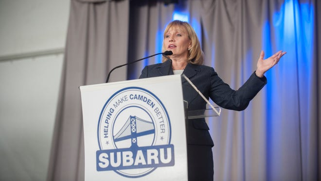 Lt. Gov. Kim Guadagno delivers remarks during the groundbreaking ceremony for the new Subaru Corporate Headquarters in Camden. Wednesday, December 9, 2015.