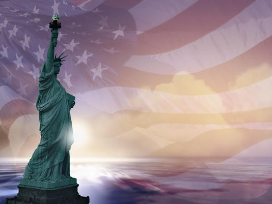 Statue of Liberty and american flag