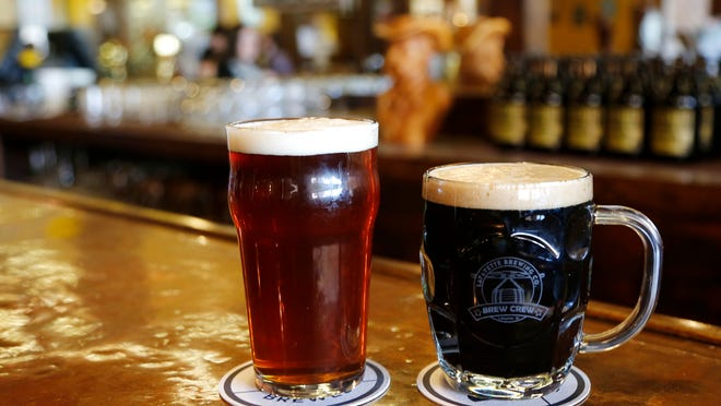 Tippecanoe Common Ale (left) and Black Angus Oatmeal Stout on Friday, April 10, 2015, at Lafayette Brewing Company, 622 Main St. Both offerings from Lafayette Brewing Company will be featured at the upcoming TAP for TAF.