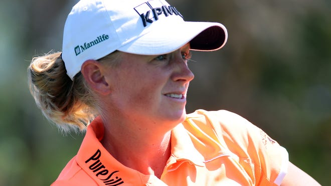 Stacy Lewis watches her tee shot on the third hole of the Dinah Shore Tournament Course of Mission Hills Country Club during a pro-am on Wednesday, April 1, 2015 which was held as part of the ANA Inspiration pre-tournament events.