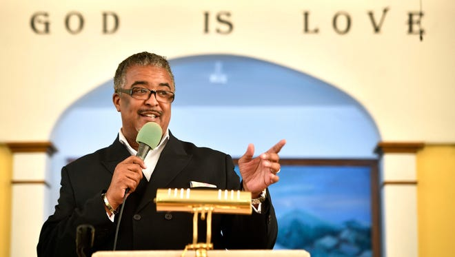 The Rev. Morris E. Tipton preaches to his congregation July 16, 2017, at First Baptist East Nashville. The neighborhood where the 90-year-old church is located is gentrifying.