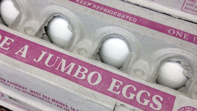 Eggs for sale in a Des Moines, Iowa grocery store. Drink less sugary soda, but an extra cup of coffee or two is OK. So are eggs. And as always, don't forget your vegetables.