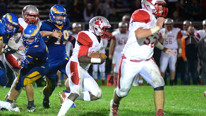 St. Joseph Wildcats won Friday's game against the Pennsville Eagles by a score of 14-6 in a West Jersey Football League inter-divisional matchup. 9/30/16.