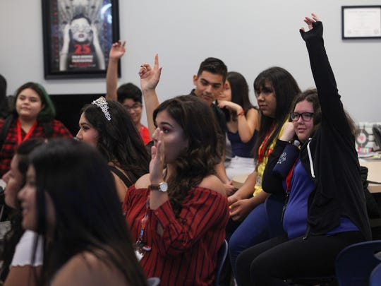 Students in Tom Buck's class during the first day of school at Indio High School, August 24, 2017.