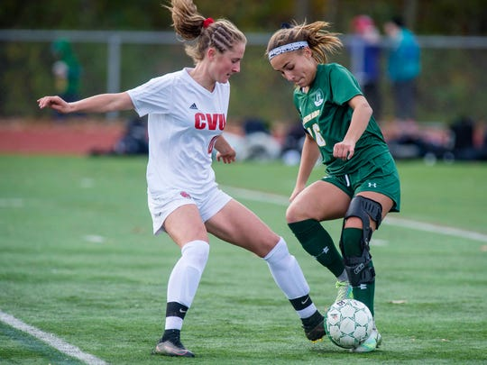 Champlain Valley Union's Sydney Jimmo, left, challenges