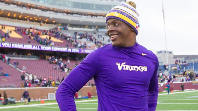 Vikings quarterback Teddy Bridgewater smiles after a game against the Chicago Bears at TCF Bank Stadium.