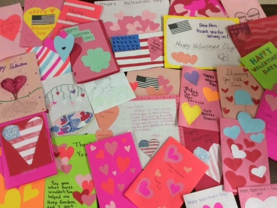 Students crafted more than 100 valentines for veterans.