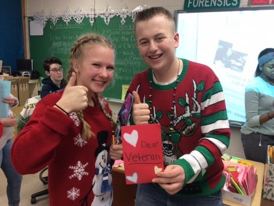 D.C. Everest Junior High students worked to brighten veterans' days by making Valentine's cards and writing poetry for them.