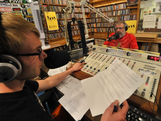 Jim Oliva, right, and Dan Waterman, DJ at 90FM studio in Stevens Point.