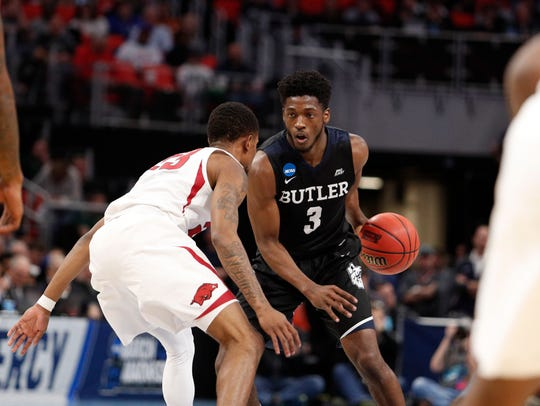 Butler Bulldogs guard Kamar Baldwin (3) looks to move