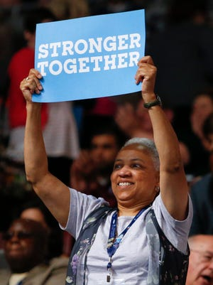 Delaware convention delegate Lydia York reacts during the second day of the Democratic National Convention at the Wells Fargo Center in Philadelphia, Pa. Tuesday.