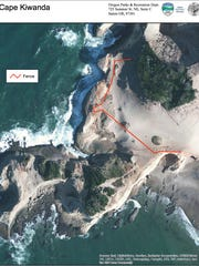 This map shows where fences and signs are set up on Cape Kiwanda in an effort to keep visitors from dangerous cliffs.