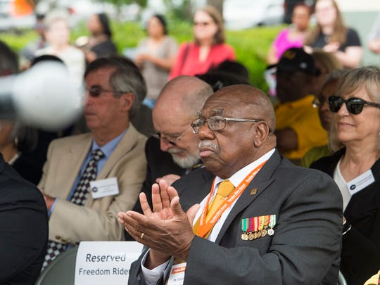 Freedom rider Charles Person claps during the 55th Anniversary Commemoration of the Freedom Rides at the Freedom Rides Museum in Montgomery, Ala., on Friday May 20, 2016.