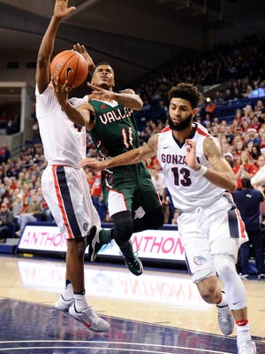 Mississippi Valley State guard Kylan Phillips goes up for a basket against Gonzaga. The Delta Devils have played 13 straight road games with one left to open the season before returning home to Itta Bena.