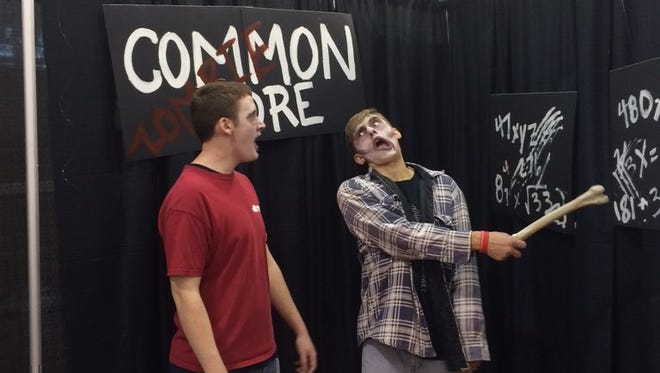 Zombies are part of the Ted Cruz booth at the Iowa Republican Party's Growth and Opportunity Party.