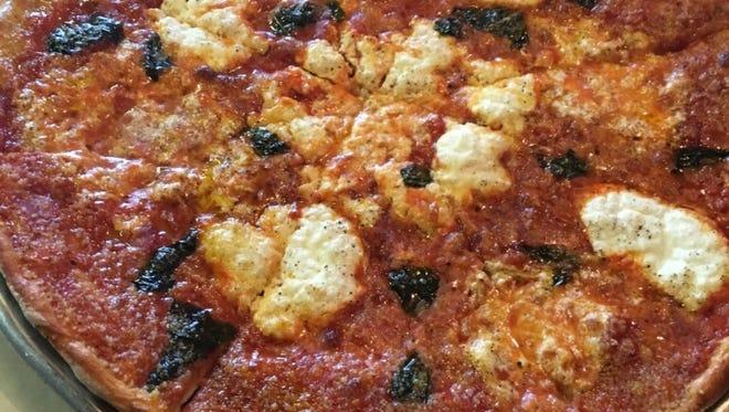 A margherita pizza at DeLucia's Brick Oven Pizza in Raritan.