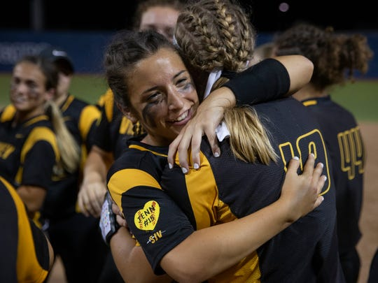 SJV's Alexis Agrapides hugs Julia Parker as they celebrate their championship. St John Vianney defeats Mount St. Dominick Academy 2-1 for  NJSIAA Non-Public A State Championship in Union NJ on June 2, 2018.