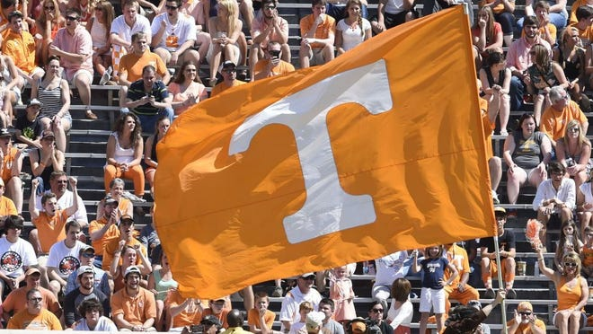 The Power T flag makes an appearance during the Orange and White game at Neyland Stadium, Saturday, April 12, 2014.