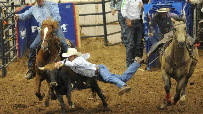 Joey D. Richards/Reporter-News Abilene's Jace Allen stretches out to grab a steer as he jumps from his horse, Slick, during his second go-round in the steer wrestling competition at the Texas High School Rodeo Association State Finals on Thursday morning at the Taylor County Coliseum.
