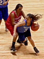 O'Donnell's LExi Villarreal (3) tries to drive around