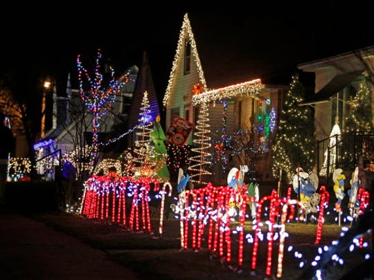A house is all decorated for Candy Cane Lane in West Allis.