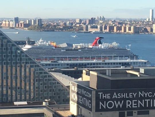 Carnival Vista docked in the Hudson River