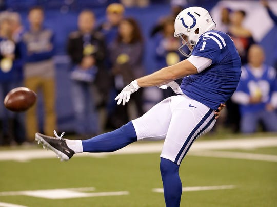 Indianapolis Colts punter Pat McAfee (1) gets his leg limber before the start of their game. The Indianapolis Colts host the Houston Texans in their NFL football game Sunday, December 11, 2016, afternoon at Lucas Oil Stadium.