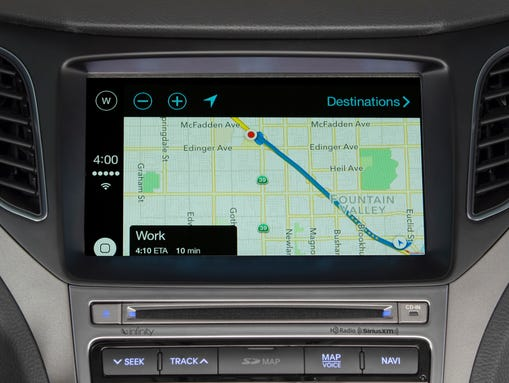 A maps interface in CarPlay.