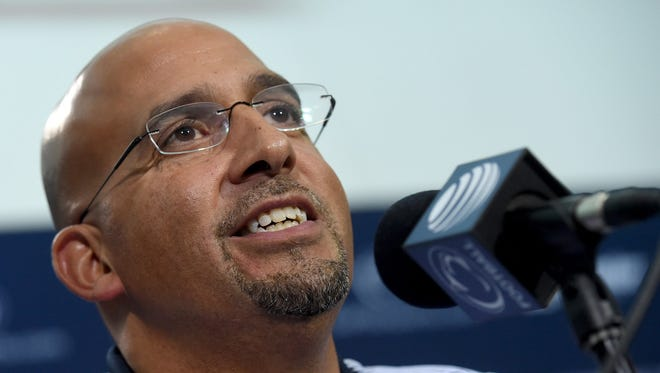James Franklin addresses the media Thursday at State College.