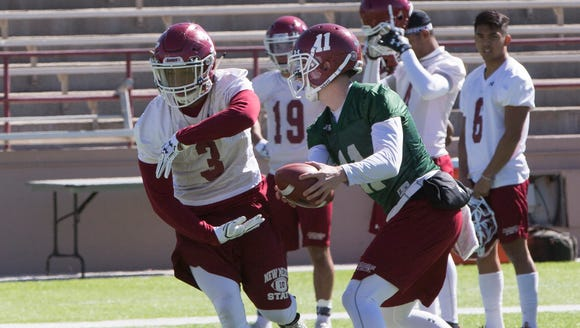 New Mexico State running back Larry Rose III and the